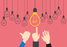 Vector Concept Businessman want idea. Bulb light Concept Design Businessman Search idea job Royalty Free Stock Images