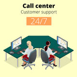 Vector concept of call center. Technical support or dispatcher call center. Female operator on call center. Flat 3d Royalty Free Stock Image