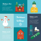 Vector concept of christmas and winter holidays. Christmas and winter attributes. Icons in the flat design with sample text. Royalty Free Stock Photos