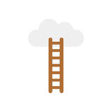 Vector concept of climb to the cloud with ladder on white with f. Vector illustration concept of climb to the grey cloud with brown ladder icon on white Stock Photo
