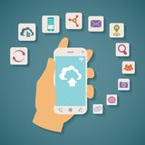 Vector concept of cloud services on mobile phone. Royalty Free Stock Photography