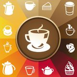 Vector concept with coffee and tea icons. Cups, mugs, pots Royalty Free Stock Photo