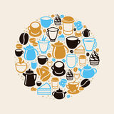 Vector concept with coffee and tea icons Stock Image