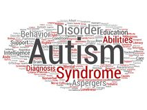 Vector childhood autism syndrome symptom. Vector concept conceptual childhood autism syndrome symptom or disorder abstract word cloud isolated background. A vector illustration