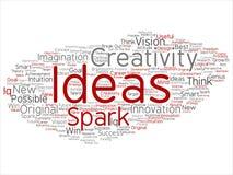 Vector creative new idea brainstorming abstract. Vector concept or conceptual creative new idea brainstorming abstract word cloud isolated on background. Collage vector illustration