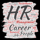 Vector concept conceptual hr or human resources career management brush or paper word cloud isolated background. Collage of workpl stock illustration