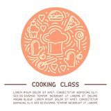 Vector concept of cooking class placard with cook cap, food elements and sample text vector illustration