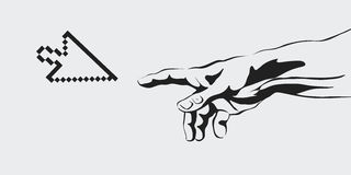 Vector concept of the creation of the Internet, communication, creation of virtual reality, human hand, hand Stock Photography
