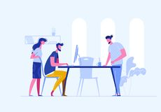 Vector concept of creative teamwork building bisiness online in one openspace. Sturtup work.Meeting business people. Discussion of the company`s business royalty free illustration