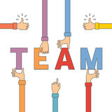 Vector concept of creative teamwork in flat outline style Stock Photo