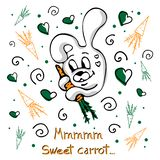 Vector concept with cute bunny, carrots, curls and hearts royalty free illustration