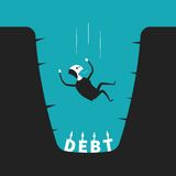 Vector concept of debt pit in flat cartoon style Royalty Free Stock Photography
