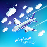 Vector concept of detailed airplane flying through clouds Royalty Free Stock Photos