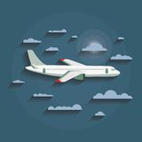 Vector concept of detailed airplane flying through clouds. Stock Photography