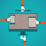 Vector concept of different gadget screen size compatibility in flat style  Stock Photos