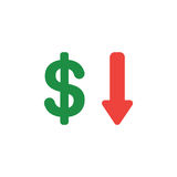 Vector concept of dollar with arrow down icon on white with flat Royalty Free Stock Photos