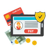 Vector concept easy online payment. Icon Royalty Free Stock Photography