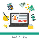 Vector concept easy online payroll operation Stock Images