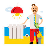 Vector Concept Energy of Ukraine. Flat style colorful Cartoon illustration. Stock Photo