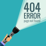 Vector concept 404 error. Illustration for 404 page not found. Flat design 404 page. Template for 404 error page not found. Illustration of flashlight for page Royalty Free Stock Photo
