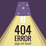 Vector concept 404 error. Illustration for 404 page not found. Flat design 404 page. Template for 404 error page not found. Illustration of lamp light for page Royalty Free Stock Image