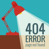 Vector concept 404 error. Illustration for 404 page not found. Flat design 404 page. Template for 404 error page not found. Illustration of lamp light for page Royalty Free Stock Photos