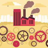 Vector concept - factory building and landscape Royalty Free Stock Image