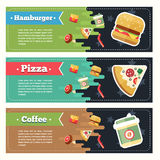 Vector concept fast food flat banner set. Flayer. Vector concept fast food flat banner set with text. Fast food flayer, poster. Coffee, pizza, hamburger, french Stock Photos