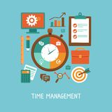Vector concept in flat style - time management. Icons and signs - organizing life and workflow Royalty Free Stock Images