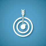 Vector concept of goal or target achievement with dart arrow.  stock illustration