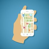 Vector concept of gps navigation on smartphone. Stock Images
