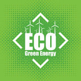 Vector concept of green energy with wind turbines Stock Photos