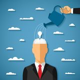 Vector concept of growing idea in human head Royalty Free Stock Images