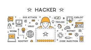 Vector concept of hacking and cyber crimes. Concept of hacking and cyber crimes. Vector hacker and internet crime. Open path stock illustration