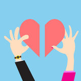 Vector Concept heart men and women view giving  love. Vector hand men and women giving for love Royalty Free Stock Photo