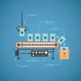 Vector concept of hi end production with noname tablet pc on conveyor line Royalty Free Stock Photos