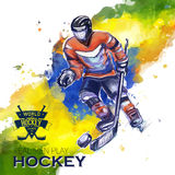 Vector concept of Hockey watercolors figures hockey. Creative hockey design with labels for you Royalty Free Stock Image