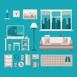 Vector concept of home office interior Stock Images