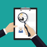 Vector concept of human resources management, finding staff. Vector concept of human resources management, finding staff, head hunter job, employment issue and Stock Photos