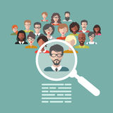 Vector concept of human resources management, professional staff research, head hunter job with magnifying glass. Vector concept of human resources management Royalty Free Stock Photography