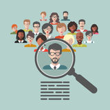 Vector concept of human resources management, professional staff research, head hunter job with magnifying glass. Vector concept of human resources management Royalty Free Stock Photos