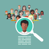 Vector concept of human resources management, professional staff research, head hunter job with magnifying glass. HR illustration in flat style. Male and Royalty Free Stock Photography