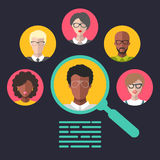 Vector concept of human resources management, professional staff research, head hunter job with magnifying glass. HR illustration in flat style. Male and Royalty Free Stock Images