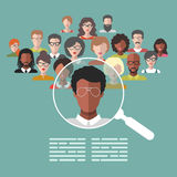 Vector concept of human resources management, professional staff research, head hunter job with magnifying glass. HR illustration in flat style. Male and Royalty Free Stock Photo
