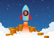Vector Concept Illustration of Bitcoin growth with rocket and coins. Cryptocurrency Pump. Vector Concept Illustration of Bitcoin growth with rocket and coins Royalty Free Stock Images