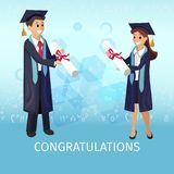 Vector Concept Illustration Cartoon Happy Students royalty free illustration
