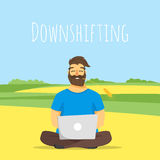 Vector concept illustration of downshifting. Royalty Free Stock Photo