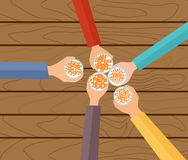 Vector Concept Illustration. Five Hands Holding Beers Making A Toast. Wooden Table Royalty Free Stock Photography