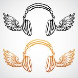 Vector concept illustration. Headphones with wings Stock Photography