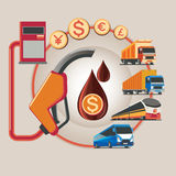 Vector concept illustration. Icon for energy saving.  Energy exploration. Oil refinery. Energy for human. Economic and crude Stock Photos